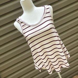 Star scene maroon and cream striped tank top